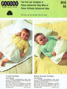 Items similar to PDF Vintage Patons 9416 Baby Very Pretty Cardigans Knitting Pattern Heirloom Kitsch Baby Doll matinee, cute on Etsy Baby Knitting Patterns, Baby Patterns, Vintage Patterns, Crochet Patterns, Knitting Ideas, Patons Yarn, Knit Purl Stitches, Yarn Brands, How To Purl Knit
