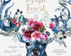 Watercolor Deer in Burgundy Flowers Antlers Stag horns Watercolor Deer, Watercolor Animals, Watercolor Wedding, Clipart, Deer Art, Magic Forest, Shabby Flowers, Deer Antlers, Graphic