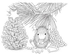 house mouse design cling stamps | Stampendous - Cling Mounted Rubber Stamp - House Mouse Pinecone Tree