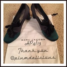 Marc Jacobs Emerald & Black  Style Obsessions HP Beautiful emerald green and black Marc Jacobs heels. Some wear and tear as shown. Gorgeous shoes. Underside of heel has some nicks. Happy to post more pictures to show wear. I love offers.  happy to bundle, just ask. Marc Jacobs Shoes Heels