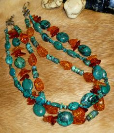 RARE Antique Tibetan Turquoise & Honey Amber Nuggets Necklace Triple Strand, WOW: $2495.00 obo