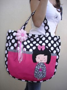 Handbag Patterns, Bag Patterns To Sew, Geisha, Pop Bag, Bag Pattern Free, Craft Bags, Patchwork Bags, Denim Bag, Fabric Bags