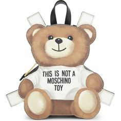 MOSCHINO Toy bear leather backpack ($725) ❤ liked on Polyvore featuring bags, backpacks, white leather bag, leather daypack, leather rucksack, strap backpack and white leather backpack
