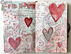 journaling with hearts and zentangles