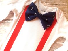 Baby Boy Nautical Outfit, Nautical Bow Tie and Red Suspenders, Boy Takes me Home Outfit, Nautical Wedding, Nautical Baby Shower Gift by sherbetwithsprinkles on Etsy