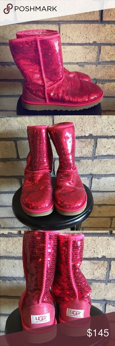 Ugg Classic Short Red Sequin Boots Beautiful red sequin short Ugg boots. Possibly discontinued? Worn ONCE. Excellent new condition and ready for a new home where they will be loved and worn! Non-smoking home with dogs (these sat on a shelf in the closet never touched). UGG Shoes Winter & Rain Boots