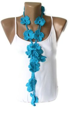 Blue Flower Hand Crochet Lariat Scarffashion accessories by seno, $22.00