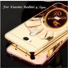 Mirror Back Cover Case For Xiaomi Redmi 4 Pro / 4A & Aluminum Metal Frame Set Hot Phone Bag Cases For Xiomi Redmi 4 Pro Prime
