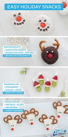 Great ideas for last-minute holiday party snacks. Grapes, marshmallows, strawberries, and banana slices become a Santa on a Stick when you layer the ingredients on a toothpick. And mini doughnuts are only a few chocolate chips away from turning into reindeer and snowmen. Pack them up in Ziploc® bags for work and school parties, or anytime you're feeling festive!
