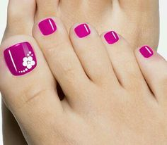 Hot Pink with white stamped design Feet Nails, Pink Toe Nails, Nail Art Toes, Gel Toe Nails, Toe Nail Polish, Gel Toes, Magenta Nails, Sexy Nail Art, Flower Toe Nails