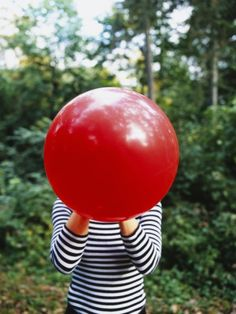 Woman Blowing a Balloon Germany Photographic Print // Bubble Balloons, Big Balloons, Red Balloon, Balloon Face, Bubbles, Belle Photo, Close Up, Color Pop, Colour