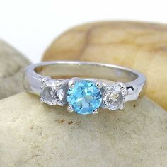 Blue Topaz and White Topaz 3 Stone Sterling Silver 925 Ring - made to order in your ring size by ChadaSoph on Etsy