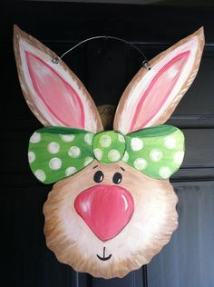 Whimsical bunny door hanger for spring or for a child's room.. $40.00, via Etsy.