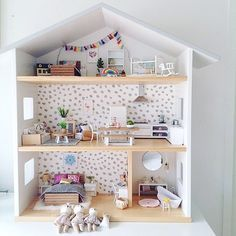 A gorgeous customer photo from the beautiful Alison built this house and has been slowly collecting pieces from our collection for months. It's all ready for her daughter's birthday now and will be a truely special gift from mum and dad. Ikea Dollhouse, Wooden Dollhouse, Dollhouse Ideas, Mini Doll House, Barbie Doll House, Diy Barbie Furniture, Modern Dollhouse Furniture, Doll House Plans, Diy Gifts For Dad