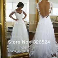 New Fashion Sweetheart  Neckline Cap Sleeves Backless Lace Applique  Wedding dress Bridal gown dress  BO0959