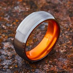 360° View Ring Design Notes 8MM & 6MM Widths Brushed Matte Finish High Polish Beveled Edges Brilliant Anodized Interior Smooth Comfort Fit Tungsten Exterior