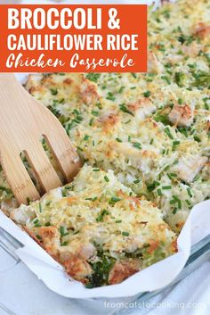 A healthy and cheesy broccoli and cauliflower rice chicken casserole that is perfect for dinner and makes great leftovers. Gluten free, grain free & paleo! // www.fromcatstocooking.com: