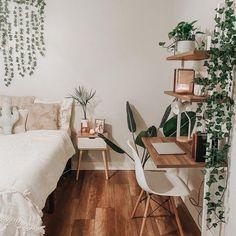 Room Ideas Bedroom, Home Decor Bedroom, Nature Bedroom, Bedroom With Plants, Desk In Bedroom, Bedroom Inspo, Nature Inspired Bedroom, Boho Teen Bedroom, Bedroom Balcony
