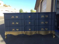 Blue and Gold French Provincial Bedroom Set by SimonSaysSalvage on Etsy www. Refurbished Furniture, Paint Furniture, Repurposed Furniture, Furniture Makeover, Bedroom Furniture, Furniture Stores, Furniture Outlet, Gold Furniture, Furniture Online