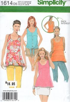 FREE US SHIP Simplicity 1614 Cute Tops Back Interest 4 Looks Size 4/12 12/20 Bust 29 30 31 32 34 36 38 40 42 Sewing Pattern by LanetzLiving on Etsy