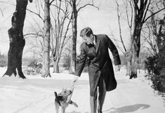 """JFK with Charlie, a Welsh Terrier. Charlie was a cousin to the dog """"Asta"""" that is featured prominently in """"The Thin Man"""" movies. JFK owned at least four other dogs, including an Irish Wolf Hound given to him by an Irish priest."""