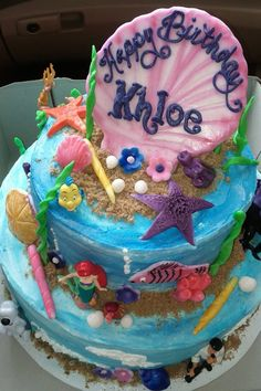 Khloes 4th birthday Little Mermaid cake
