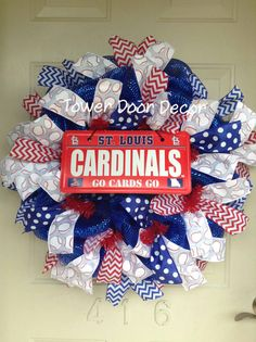 St. Louis Cardinals Baseball Mesh Wreath by TowerDoorDecor on Etsy, $50.00