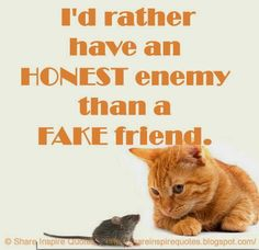 I'd rather have an HONEST enemy than a FAKE friend.    #Life #Lifelessons #Lifeadvice #Lifequotes #quotesonLife #Lifequotesandsayings #honest #enemy #fake #friend #shareinspirequotes #share #inspire #quotes #whatsapp
