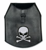 Black Leather Biker Dog Harness with Skull Patch