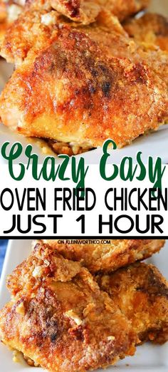Simplify your dinner with this Oven Fried Chicken that comes out crispy delicious in about an hour Less mess clean up the best baked chicken recipe Ever bakedchicken chicken friedchicken ovenfriedchicken easydinner dinner easyrecipes Easy Oven Fried Chicken, Oven Fried Chicken Thighs, Best Baked Chicken Recipe, Oven Chicken Recipes, Healthy Chicken, Bake Chicken In Oven, Kentucky Fried Chicken Recipe Baked, Bisquick Oven Fried Chicken Recipe, Roasted Chicken