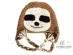 Sloths seems to be all the rage right now. It's no wonder they are so popular. They are so darn cute! If you find them to be as cute as I do, I think you'll love my sloth hat pattern. Unique Crochet, Easy Crochet Patterns, Cute Crochet, Crochet Crafts, Crochet Projects, Knitting Patterns, Hat Patterns, Crochet Ideas, Knitting Hats