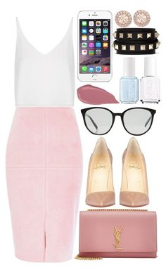 """""""Yves Saint Laurent , Céline and Christian Louboutin"""" by camimi1d ❤ liked on Polyvore featuring River Island, Topshop, Christian Louboutin, Yves Saint Laurent, CÉLINE, Essie, Valentino and Givenchy"""