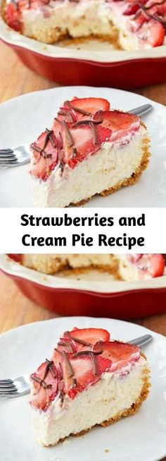 Most Pinned Recipes, Cream Pie Recipes, Strawberries And Cream, Original Recipe, Pie Dish, Food Print, Food To Make, Breakfast Recipes, Sweet Tooth