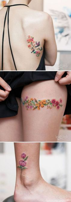 Floral tattoo delicate top design ideas 7