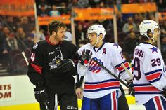 I was at this game...I don't think this was a very friendly conversation....Monsters' Enforcer Daniel Maggio. LEM vs. RCH (3.23.14)