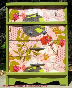 mommy is coo coo: Decoupage Dresser with Anna Maria Horner Fabric