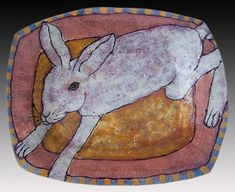 Deb Fleck-Stabley. Rabbit on pink and salmon pottery platter