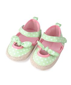 Take a look at this Lime Green & Pink Polka Dot Mary Jane by Kushies on #zulily today!