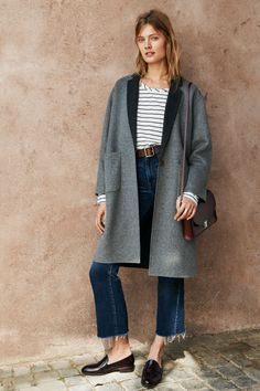 """madewell 11"""" high riser crop flares, square buckle belt, songbook dolman tee in stripe, monsieur coat, the elin loafer + the cambridge satchel company® large push lock crossbody bag worn by our muse constance jablonski in our fall catalog shot in rome. #everydaymadewell"""