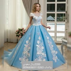 484418a457418 Princess Ball Gown Prom Dresses Light Blue Sheer Neck Lace Appliqued Flower  Evening Gowns Vintage Formal Pageant Dress from DRESS. toffa wedding ·  فساتين ...
