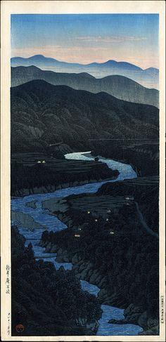 """""""Ioridani Pass, Etchu"""" by Hasui, Kawase"""