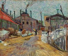 Vincent van Gogh Factory at Asnieres, The Painting Van Gogh Pinturas, Vincent Van Gogh, Art Van, Claude Monet, Renoir, Famous Artists, Great Artists, Matisse, Desenhos Van Gogh