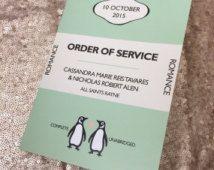 Wedding Order Of Service Booklet/ Program - Penguin Classics Design x 25