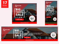 Home Banner Set (Real Estate) by Pond Design on Dribbble Banner Design Inspiration, Web Banner Design, Web Design, Pond Design, Design Tech, Logos Vintage, Logos Retro, Display Banners, Display Ads