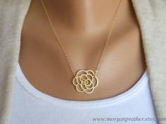Rose Necklace  gold dainty rose pendant suspended by morganprather, $23.00
