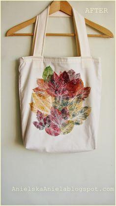 DIY TUTORIAL leaf print tote bag jak pomalować torbę diy pieczątki z liści