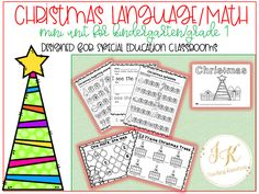 In this engaging Math and Language Christmas mini unit, you get a little bit of everything. With over 25 pages of worksheets covering the basics of counting and reading. This resource was designed with a focus specifically on Kindergarten and Grade 1 and inclusive learners in Special Education classrooms. But it can also be used in higher grades as a review or used in math and literacy centers. #christmasunit #kindergaten #math #literacy #chistmas #primary #numbersto20 #begsounds #sightwords Christmas Language Arts, Christmas Math, Christmas Minis, Math Literacy, Literacy Centers, Special Education Classroom, Sight Words, Grade 1, Teaching Resources