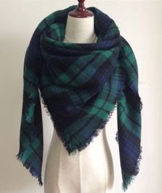 Green and Navy Blue Plaid Blanket Scarf Fall and Winter Scarves