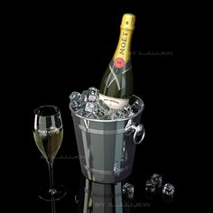 bottle champagne moet chandon model - Champagne Moet Chandon ice Bucket by iljujjkin Tim Tim, Strawberry Champagne, Glam And Glitter, Alcohol Content, Coffee Cocktails, Moet Chandon, Bottle Lights, Match Making, Vodka