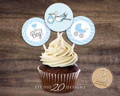 """Instant Download 2"""" Stork Cupcake Toppers, Printable Stroller Baby Shower Cupcake Toppers, Its A Boy Baby Shower Toppers, Baby Gift Tags 50A by Studio20Designs on Etsy https://www.etsy.com/listing/185384929/instant-download-2-stork-cupcake-toppers"""